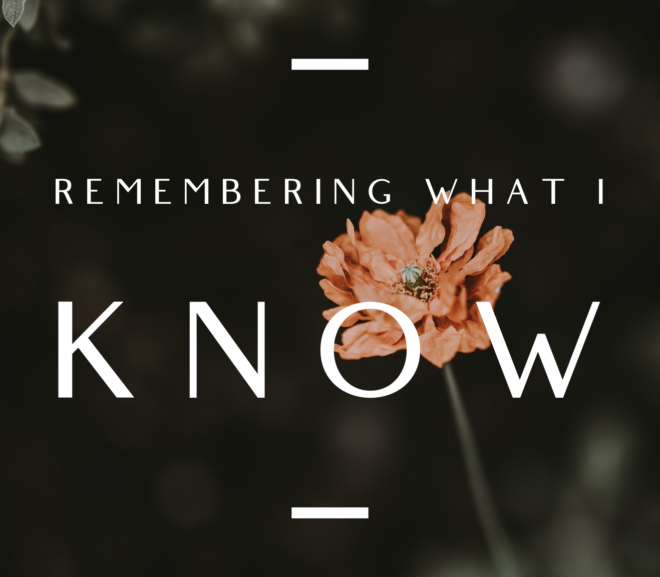 Remembering What I Know